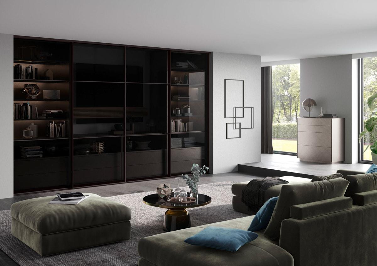 Meuble TV équipé de portes coulissantes vitrées