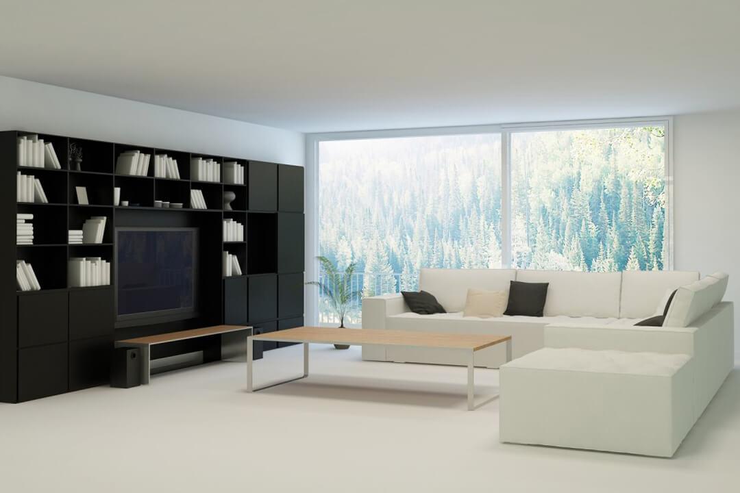 Zwarte boekenkast op maat met tv