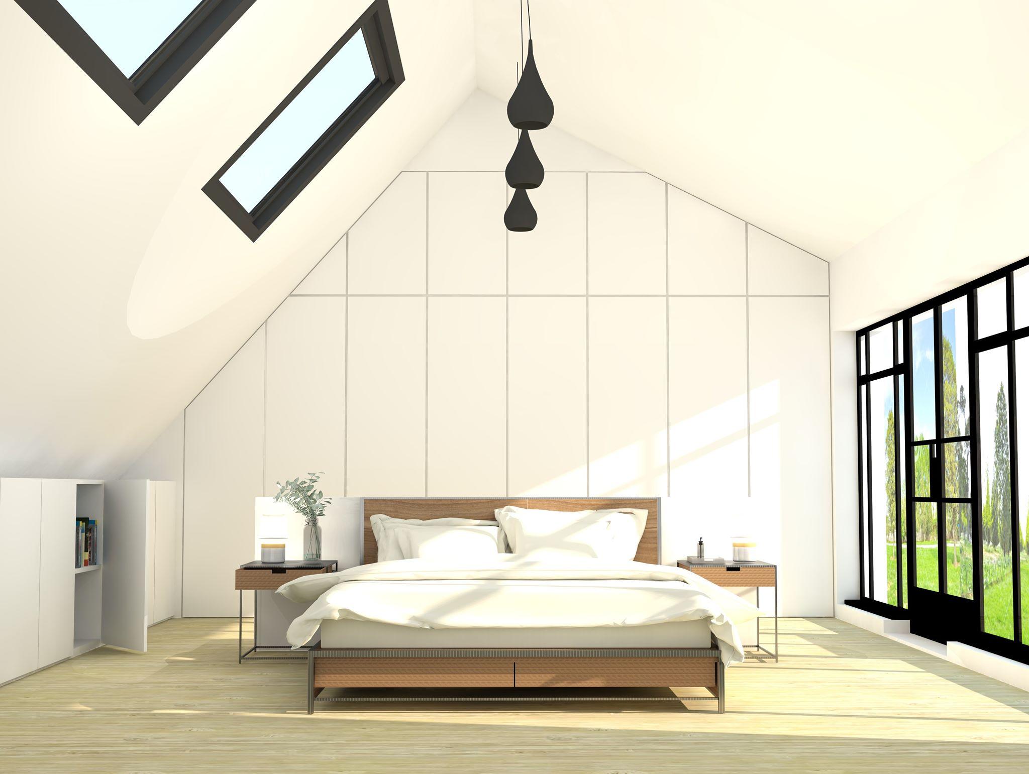 Ontwerp maatkasten in slaapkamer onder schuine wand