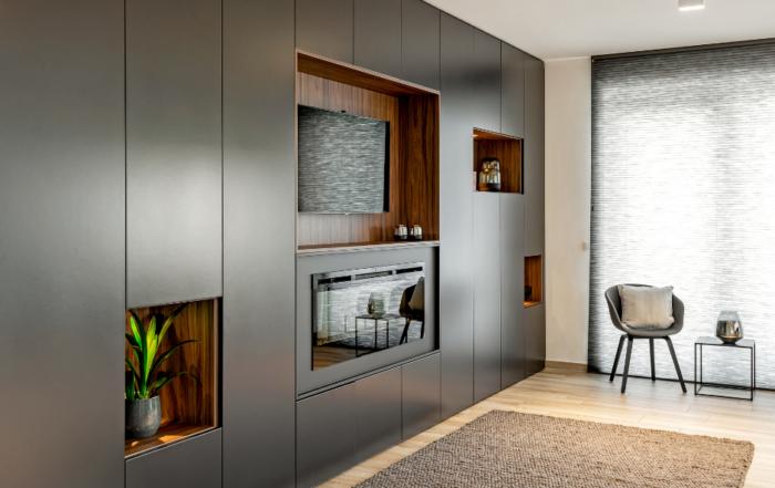 Ingebouwd tv-meubel met haard